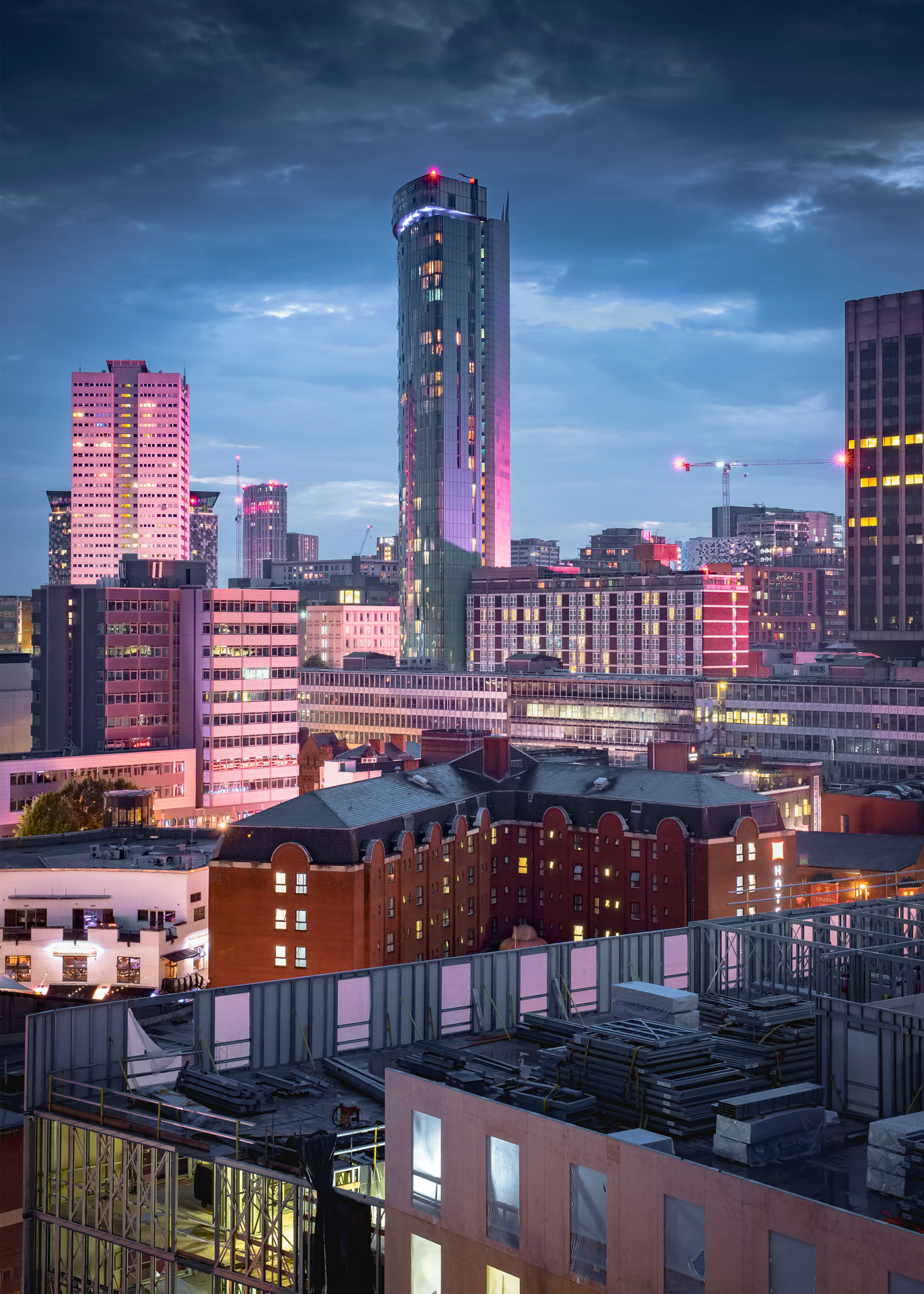 Across the rooftops on Birmingham towards the Raddison Blu hotel. City Photography. Urban.