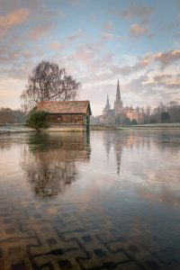 Lichfield Cathedral in Staffordshire. Highly commended in Landscape Photographer of the Year. Stowe Pool, Lichfield on an icy winter morning.